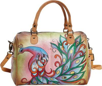 ANNA by Anuschka Hand Painted Large Satchel Royal Peacock - ANNA by Anuschka Leather Handbags