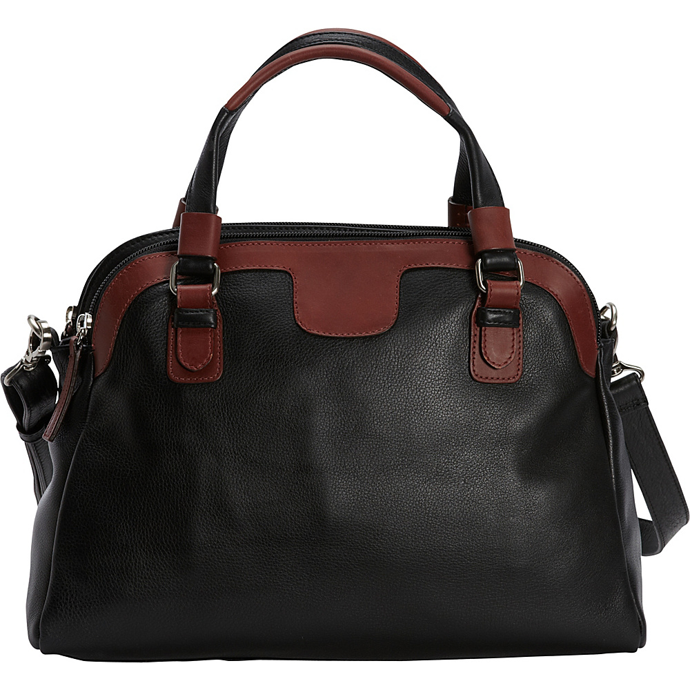 Derek Alexander E/W Triple Compartment Satchel Black/Brandy - Derek Alexander Leather Handbags - Handbags, Leather Handbags