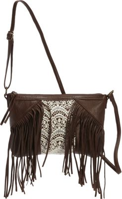 T-shirt & Jeans Fringe Cross Body with Crochet Center Chocolate - T-shirt & Jeans Manmade Handbags