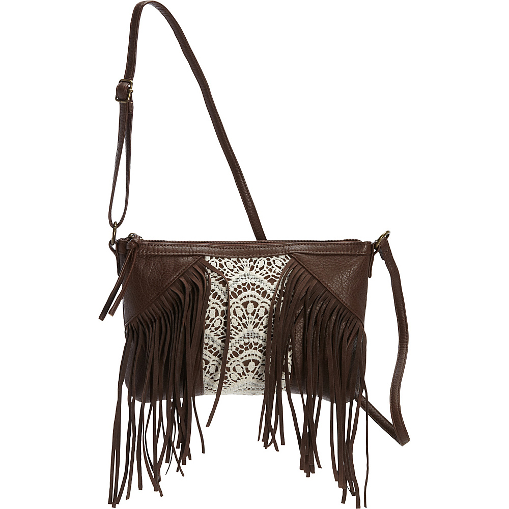 T shirt Jeans Fringe Cross Body with Crochet Center Chocolate T shirt Jeans Manmade Handbags