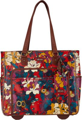 Sakroots Artist Circle Rolling Tote Crimson Flower Power - Sakroots Luggage Totes and Satchels