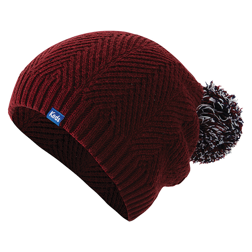 Keds Herringbone Knit Pom Beanie Beet Red Keds Hats Gloves Scarves