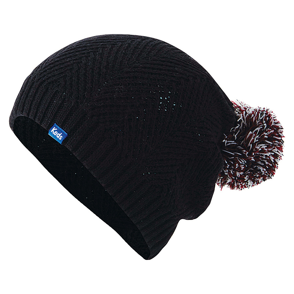 Keds Herringbone Knit Pom Beanie Black Keds Hats Gloves Scarves