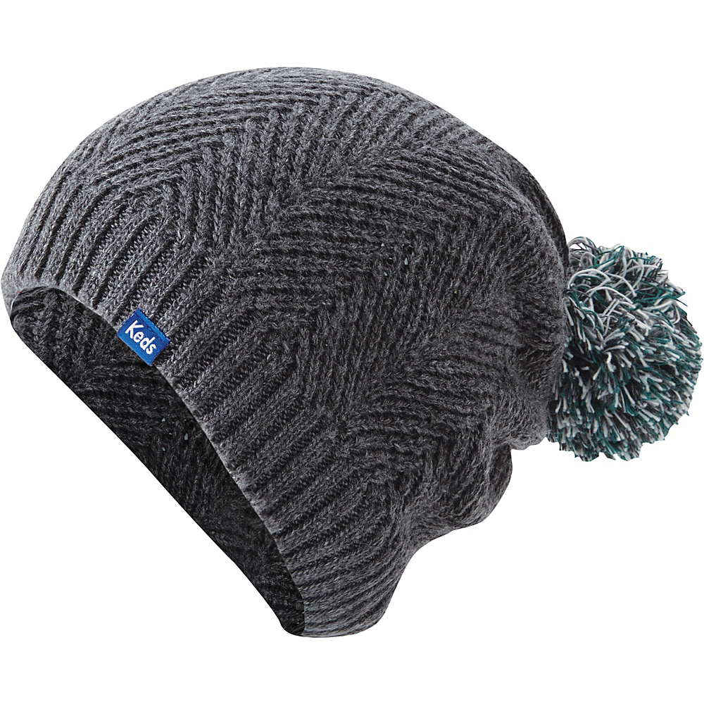 Keds Herringbone Knit Pom Beanie Pewter Keds Hats Gloves Scarves