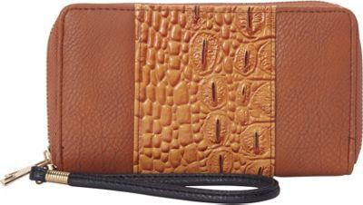Rebecca & Rifka Faux Leather Croco Panel Double Zip Wallet Cognac/Black - Rebecca & Rifka Women's Wallets