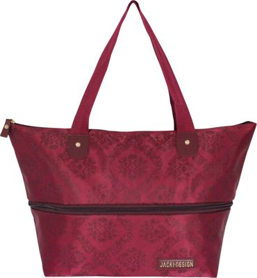 Jacki Design New Essential Expandable Tote Bag Burgundy - Jacki Design Fabric Handbags