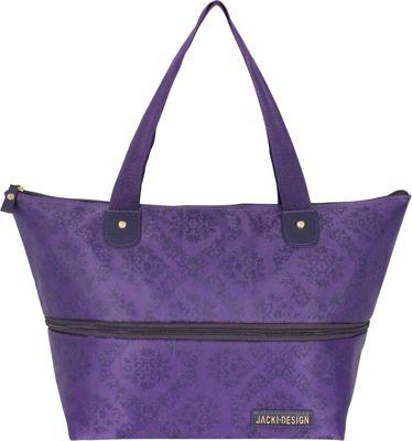 Jacki Design New Essential Expandable Tote Bag Purple - Jacki Design Fabric Handbags