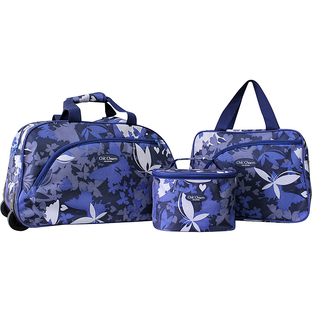 Jacki Design Three Piece Rolling Travel Set Blue - Jacki Design Luggage Sets