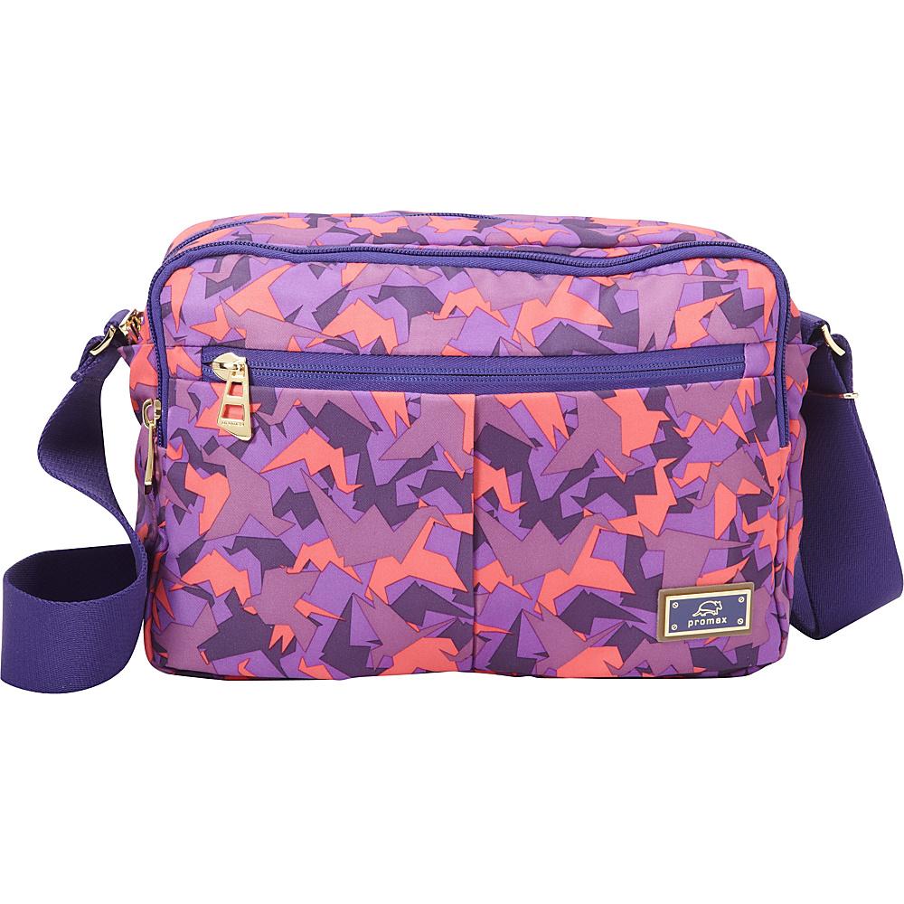Promax Chi Chi Dual Compartment iPad Shoulder Bag Purple Bird - Promax Fabric Handbags