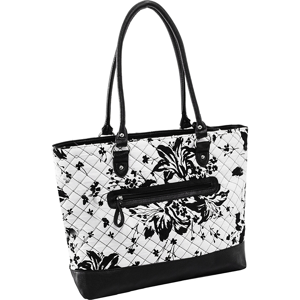 Parinda Allie Tote Black Floral - Parinda Fabric Handbags