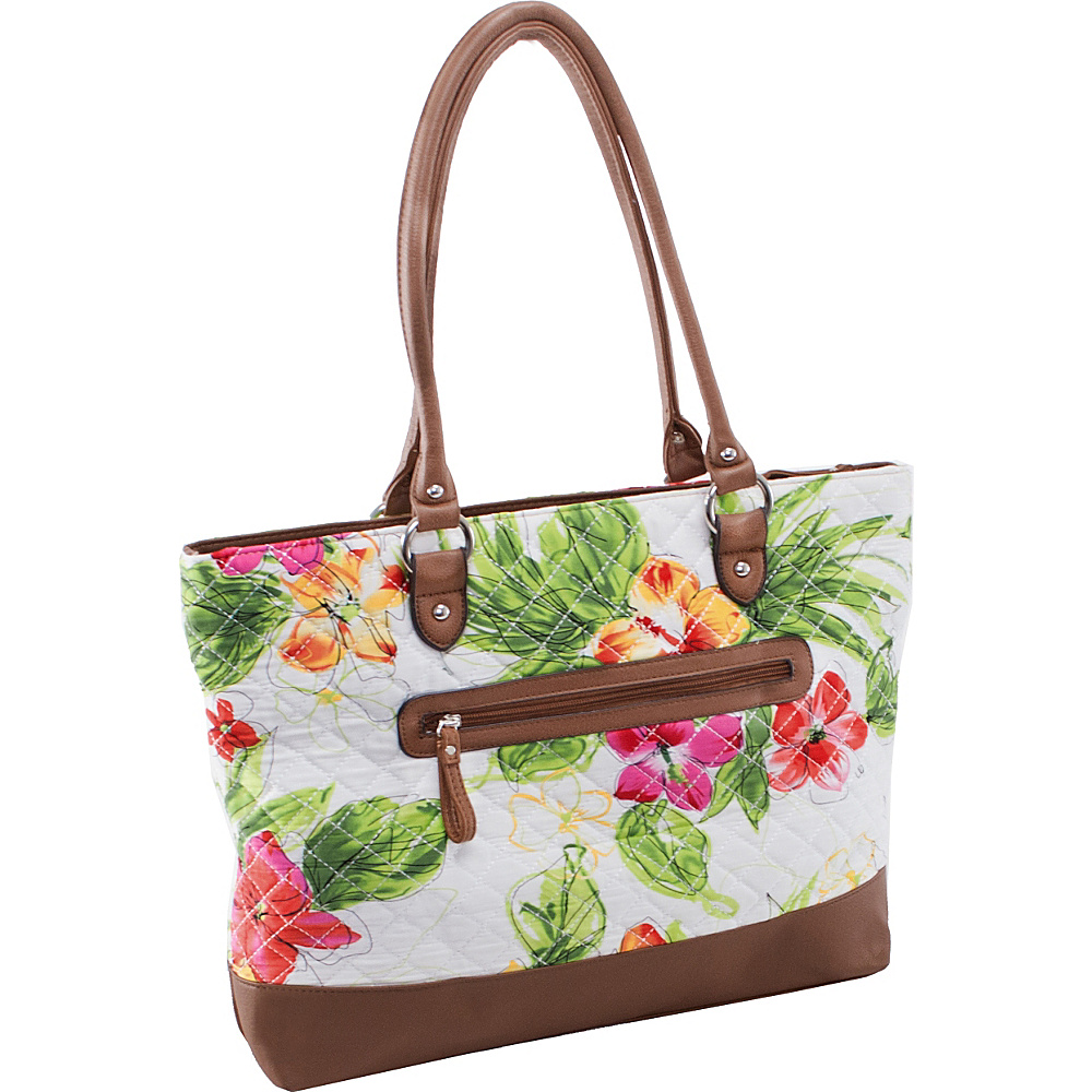 Parinda Allie Tote White Floral - Parinda Fabric Handbags