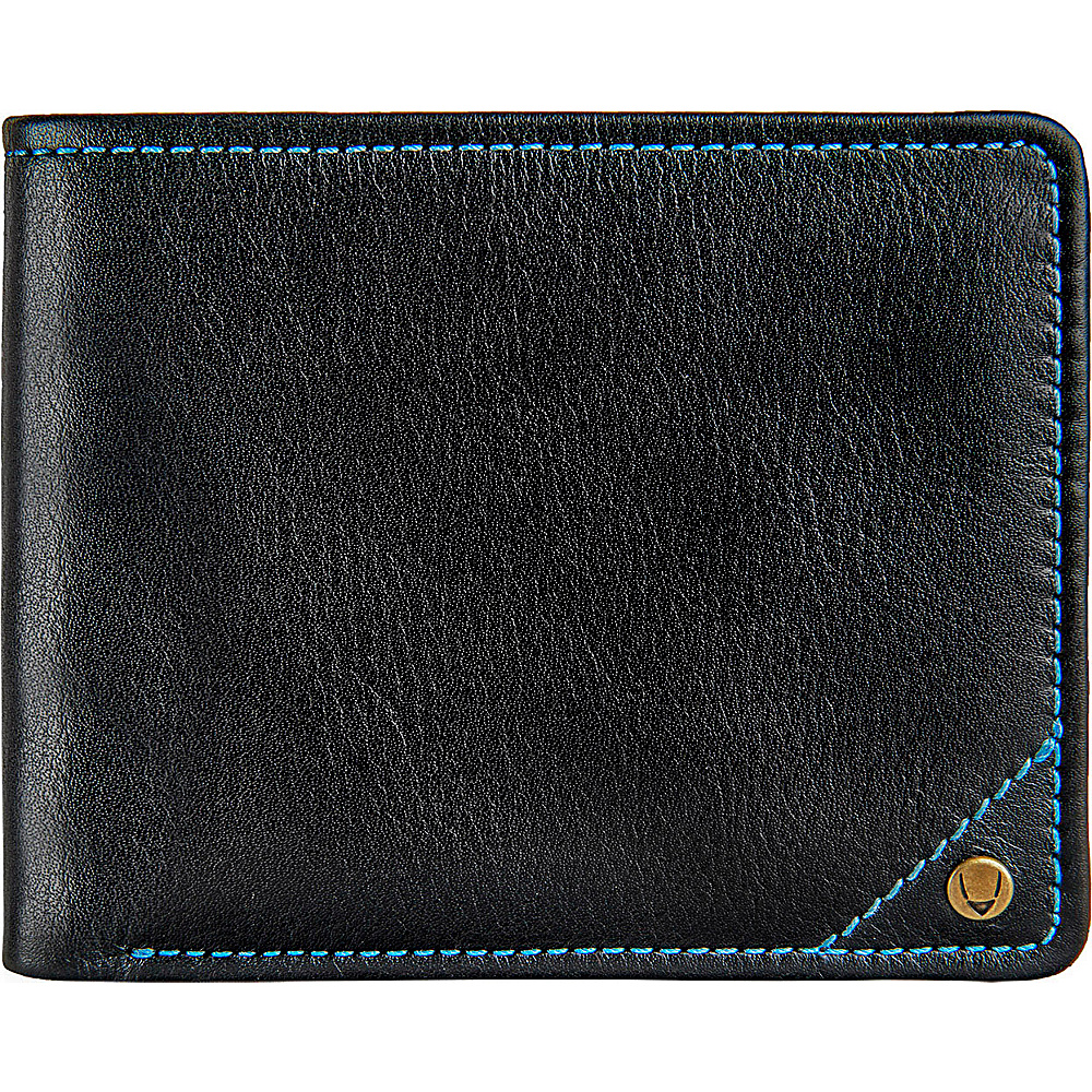 Hidesign Angle Stitch Leather Slim Bifold Wallet Black Hidesign Men s Wallets