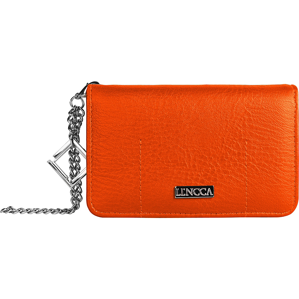 Lencca Kymira II Wallet Organizer Clutch Orange Tan Lencca Manmade Handbags