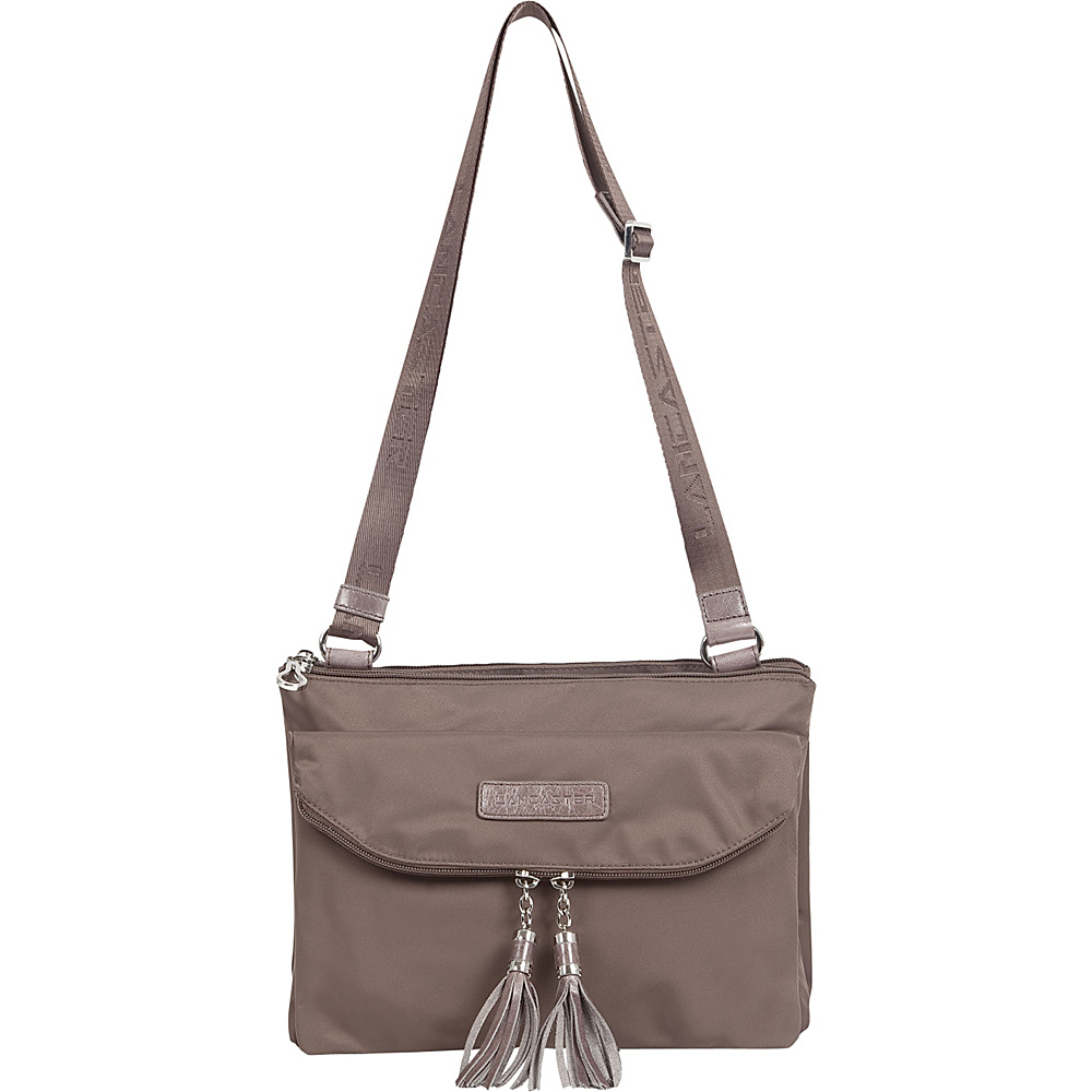 Lancaster Paris Nylon Tassel Traveler Taupe Lancaster Paris Fabric Handbags