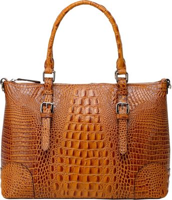 Vicenzo Leather Carole Croc Embossed Leather Tote Brown - Vicenzo Leather Leather Handbags
