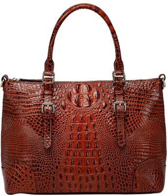 Vicenzo Leather Carole Croc Embossed Leather Tote Chestnut - Vicenzo Leather Leather Handbags