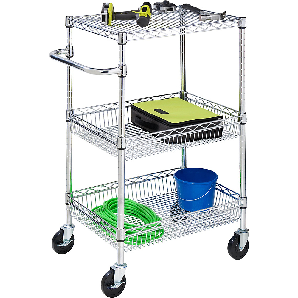 Honey-Can-Do 3-Tier Chrome Hd Urban Rolling Cart chrome - Honey-Can-Do Luggage Accessories
