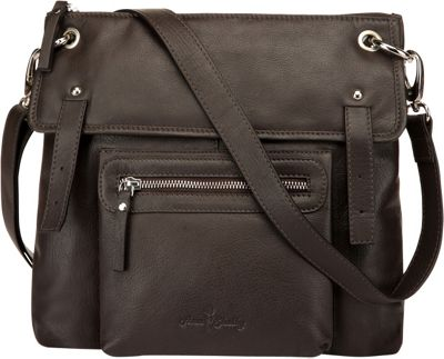 Image of Ann Shelby Emmy Leather Crossbody Bag Dark Brown - Ann Shelby Leather Handbags