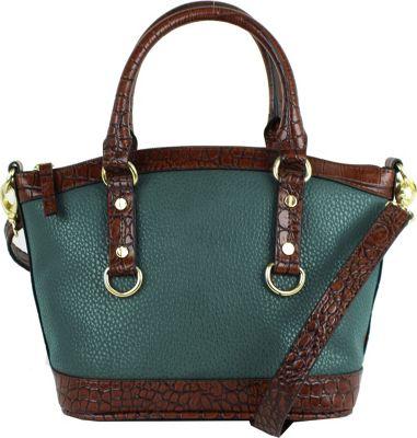 Emilie M Kimberley Two-Tone Mini Dome Satchel Pine - Emilie M Manmade Handbags