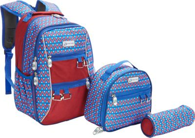 Sydney Paige Buy One/Give One Kids Backpack + Lunch Bag + Pencil Case Set Blue Tents - Sydney Paige Everyday Backpacks