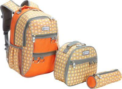 Sydney Paige Buy One/Give One Kids Backpack + Lunch Bag + Pencil Case Set Orange Tunnels - Sydney Paige Everyday Backpacks