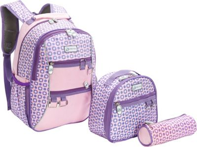 Sydney Paige Buy One/Give One Kids Backpack + Lunch Bag + Pencil Case Set Purple Spotlight - Sydney Paige Everyday Backpacks