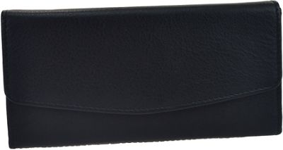 R & R Collections Leather Triple Gusset Flap Wallet Black - R & R Collections Women's Wallets