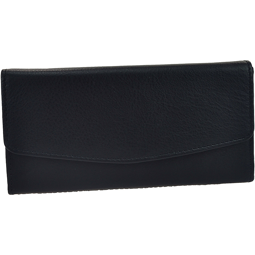 R R Collections Leather Triple Gusset Flap Wallet Black R R Collections Women s Wallets