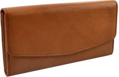 R & R Collections Leather Triple Gusset Flap Wallet TAN - R & R Collections Women's Wallets