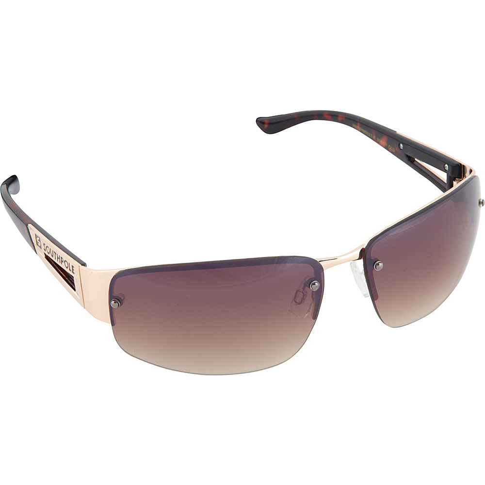 SouthPole Eyewear Semi Rimless Oval Sunglasses Gold SouthPole Eyewear Sunglasses