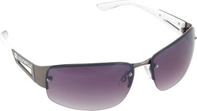 SouthPole Eyewear Semi Rimless Oval Sunglasses Gun/White - SouthPole Eyewear Sunglasses