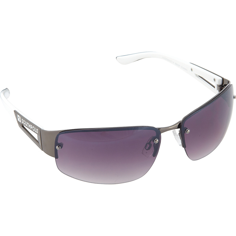 SouthPole Eyewear Semi Rimless Oval Sunglasses Gun White SouthPole Eyewear Sunglasses