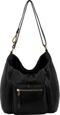 Elliott Lucca Vivien Foldover Hobo Black Superstar - Elliott Lucca Designer Handbags