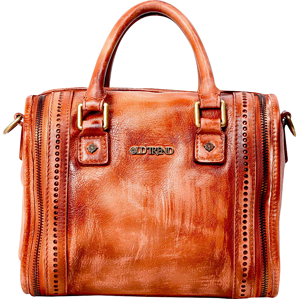Old Trend Mini Trunk Satchel Cognac Old Trend Leather Handbags