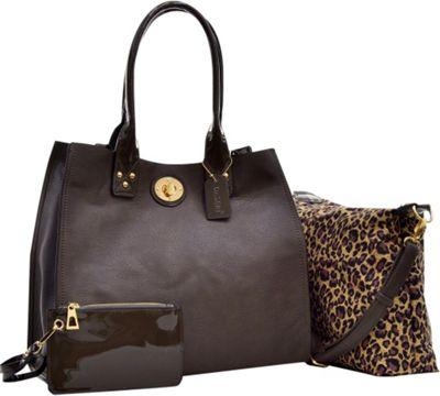 Dasein 2-in-1 Patent Faux Leather Trimmed Satchel Grey - Dasein Manmade Handbags