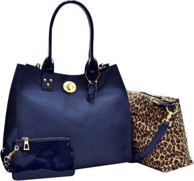 Dasein 2-in-1 Patent Faux Leather Trimmed Satchel Blue - Dasein Manmade Handbags