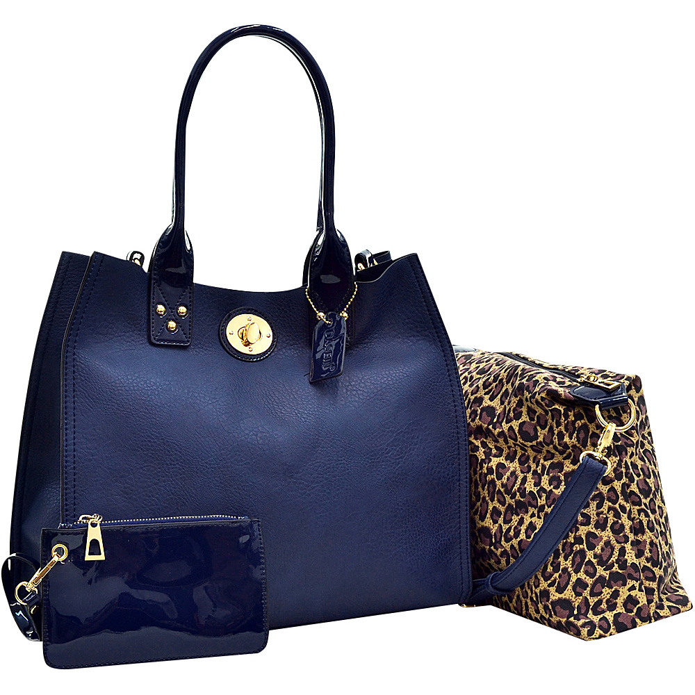 Dasein 2-in-1 Patent Faux Leather Trimmed Satchel Blue - Dasein Manmade Handbags - Handbags, Manmade Handbags