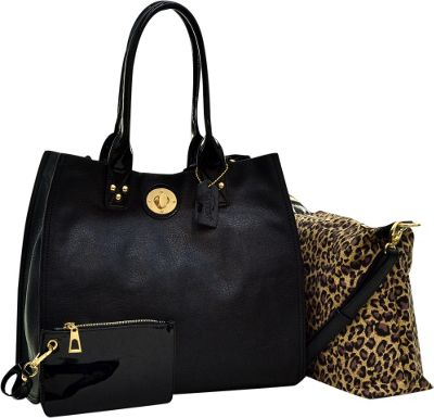 Dasein 2-in-1 Patent Faux Leather Trimmed Satchel Black - Dasein Manmade Handbags