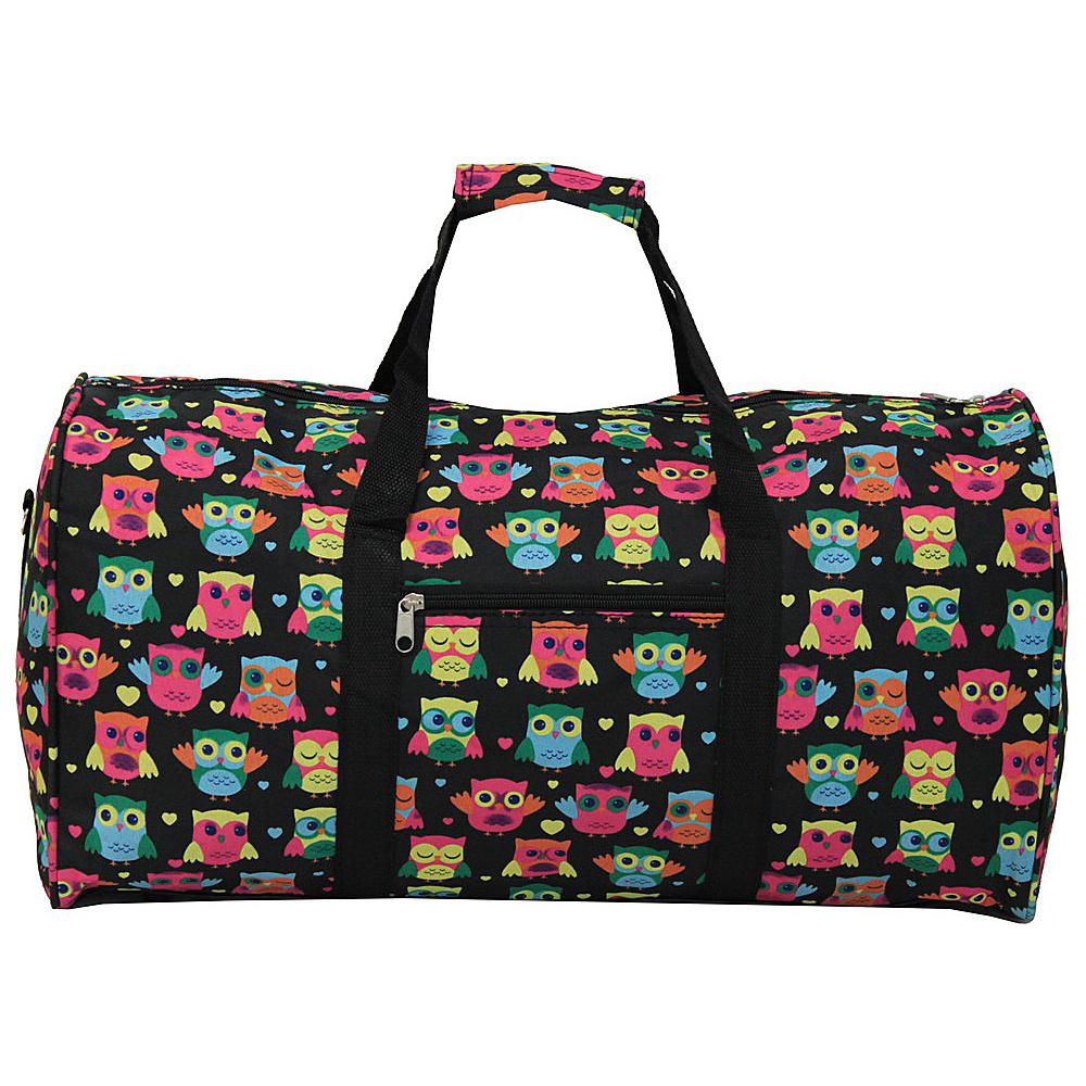 "World Traveler Owl 22"" Duffle Bag Owl Black - World Traveler Rolling Duffels"
