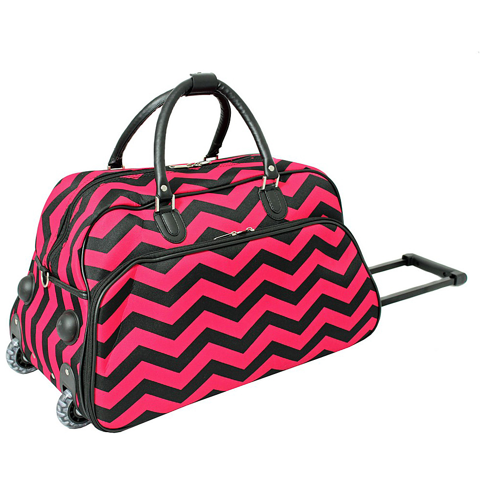 World Traveler Chevron 21 Rolling Duffel Bag Fuchsia Black Chevron - World Traveler Rolling Duffels - Luggage, Rolling Duffels