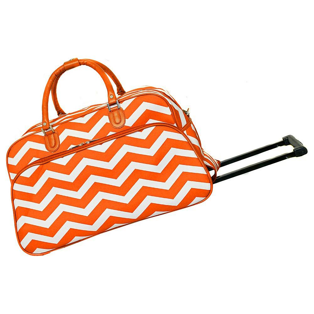World Traveler Chevron 21 Rolling Duffel Bag Orange White Chevron - World Traveler Rolling Duffels - Luggage, Rolling Duffels