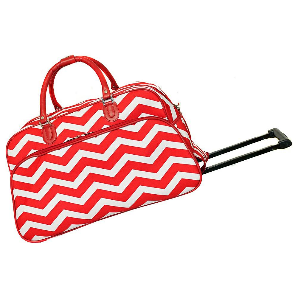World Traveler Chevron 21 Rolling Duffel Bag Red White Chevron - World Traveler Rolling Duffels - Luggage, Rolling Duffels