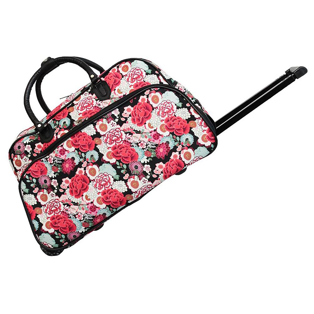 World Traveler Flowers 21 Rolling Duffel Bag Black Trim Flowers - World Traveler Rolling Duffels - Luggage, Rolling Duffels