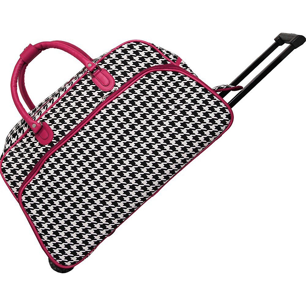World Traveler Houndstooth 21 Rolling Duffel Bag Fuchsia Trim Houndstooth - World Traveler Rolling Duffels - Luggage, Rolling Duffels