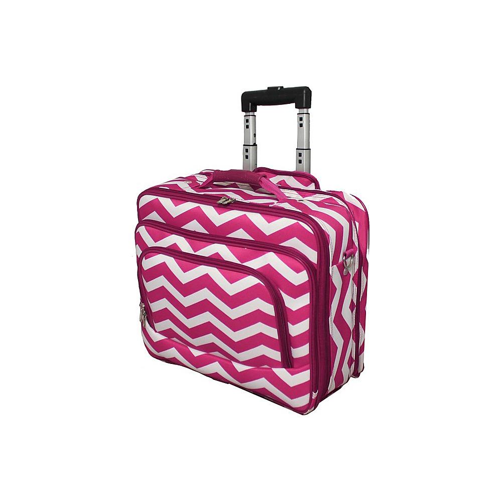 World Traveler Chevron Rolling 17 Laptop Case Fuchsia White Chevron - World Traveler Non-Wheeled Business Cases - Work Bags & Briefcases, Non-Wheeled Business Cases