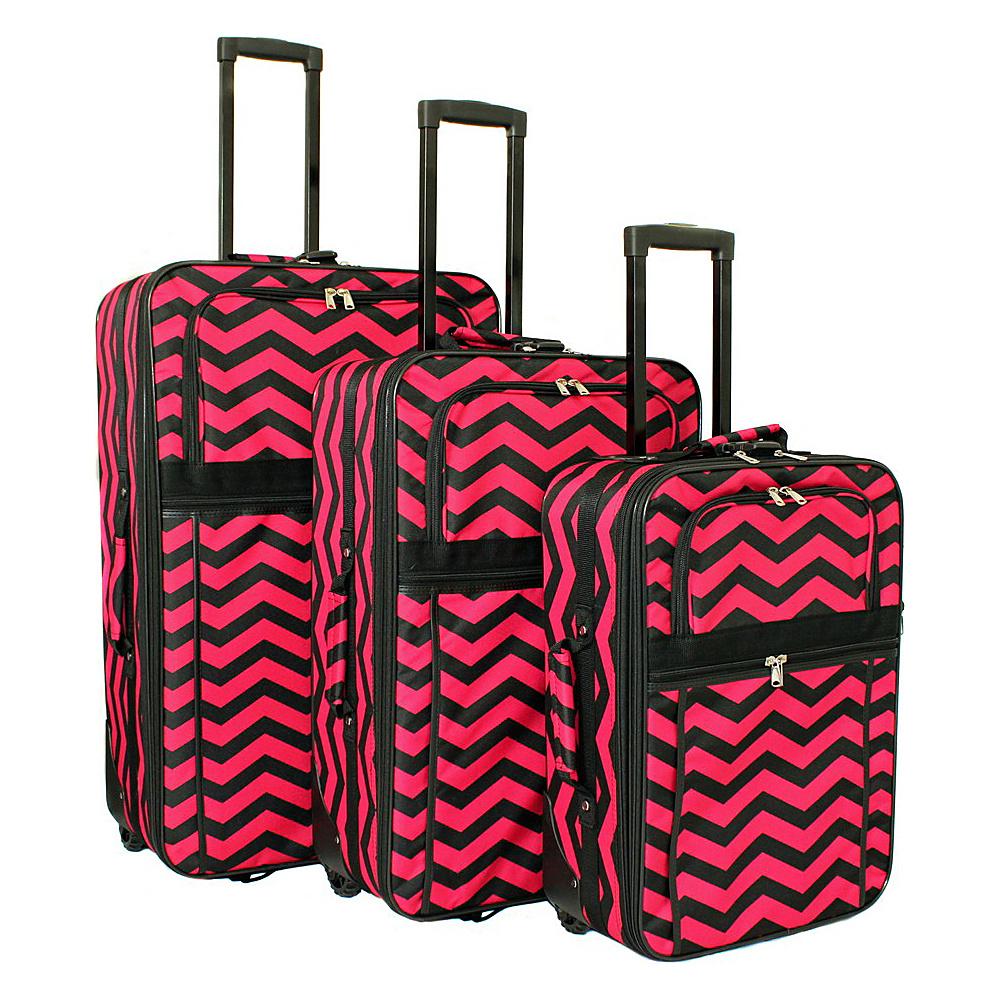World Traveler Chevron 3-Piece Expandable Upright Luggage Set Fuchsia Black Chevron - World Traveler Luggage Sets - Luggage, Luggage Sets