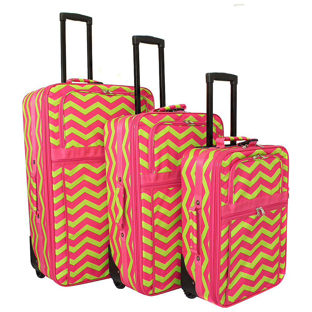 World Traveler Chevron 3-Piece Expandable Upright Luggage Set Fuchsia Lime Chevron - World Traveler Luggage Sets - Luggage, Luggage Sets