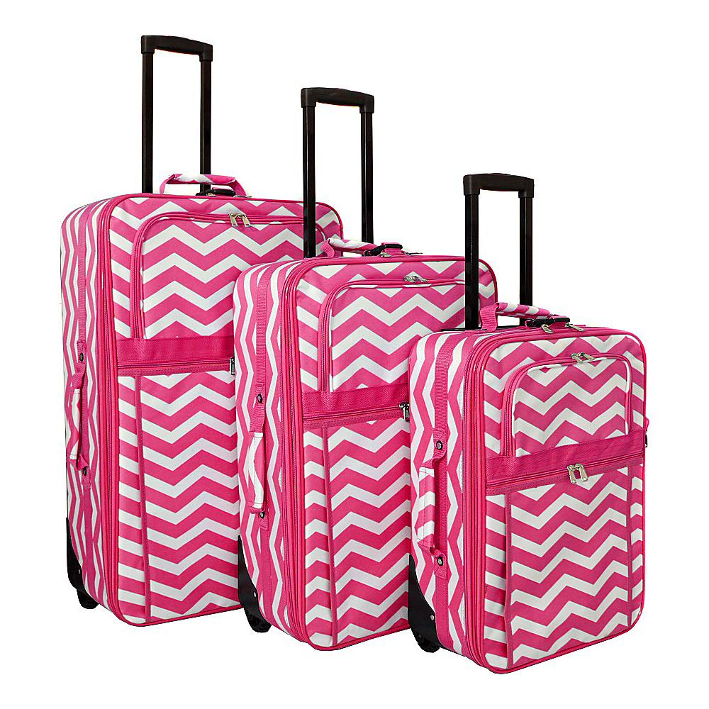 World Traveler Chevron 3-Piece Expandable Upright Luggage Set Fuchsia White Chevron - World Traveler Luggage Sets - Luggage, Luggage Sets