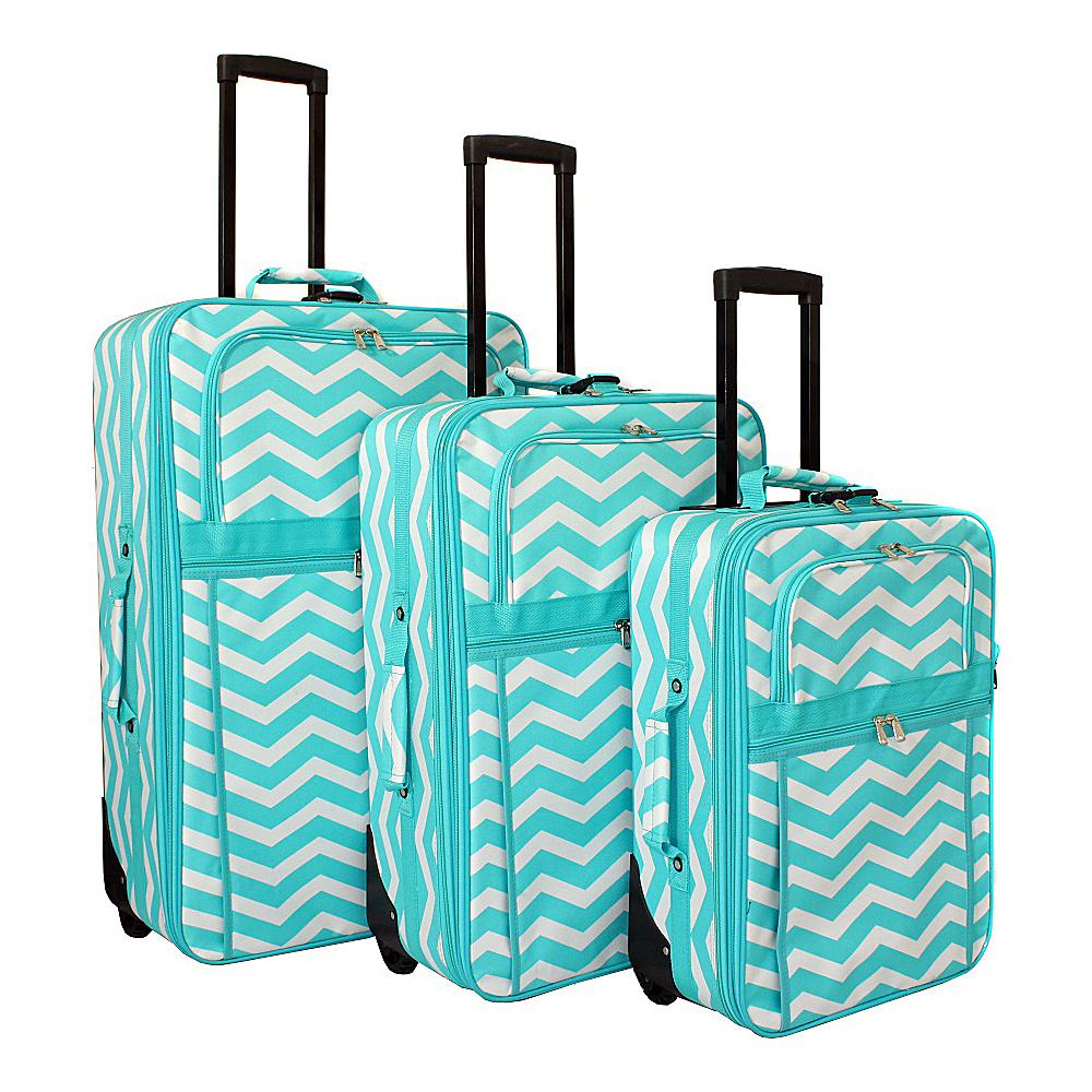 World Traveler Chevron 3-Piece Expandable Upright Luggage Set Light Blue White Chevron - World Traveler Luggage Sets - Luggage, Luggage Sets