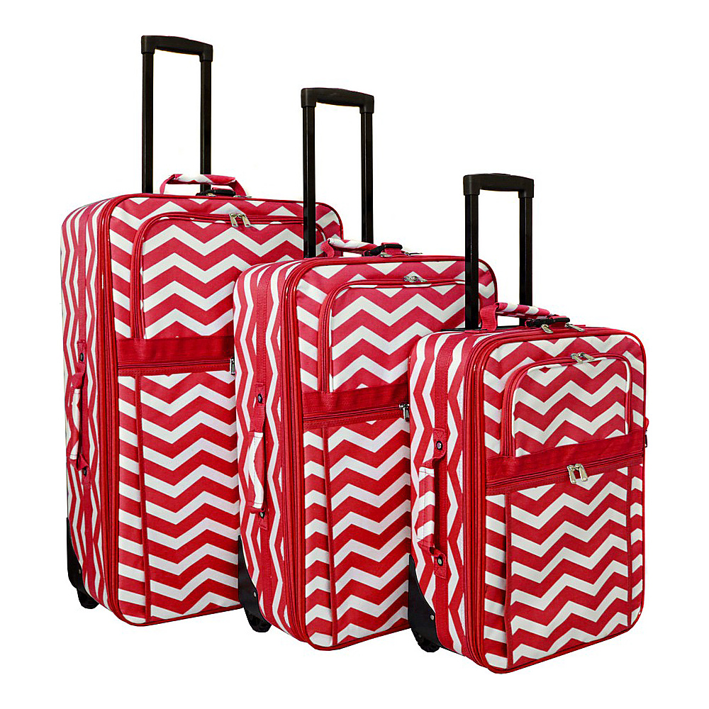 World Traveler Chevron 3-Piece Expandable Upright Luggage Set Red White Chevron - World Traveler Luggage Sets - Luggage, Luggage Sets